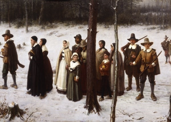 """Illustration: """"Pilgrims Going To Church"""" by George Henry Boughton, 1867. Credit: New-York Historical Society; Wikimedia Commons."""