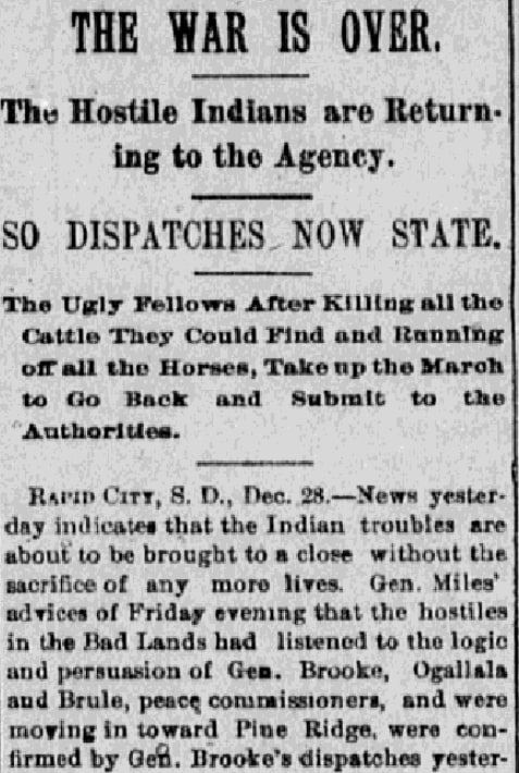 An article about the Wounded Knee Massacre, Knoxville Journal newspaper article 29 December 1890