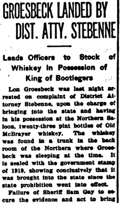 An article about the arrest of a bootlegger in Las Vegas, Las Vegas Age newspaper article 3 January 1920