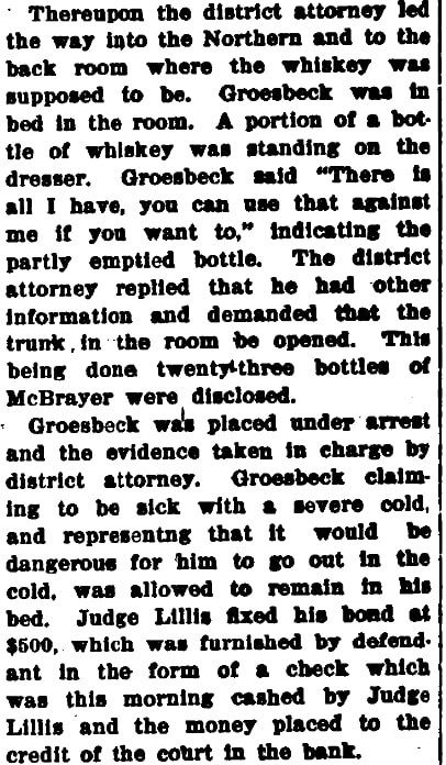 An article about the raid of a bootlegger in Las Vegas, Las Vegas Age newspaper article 3 January 1920