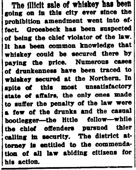 An article about Clark County District Attorney Arthur Jerome Stebenne's raid of a bootlegger in Las Vegas, Las Vegas Age newspaper article 3 January 1920