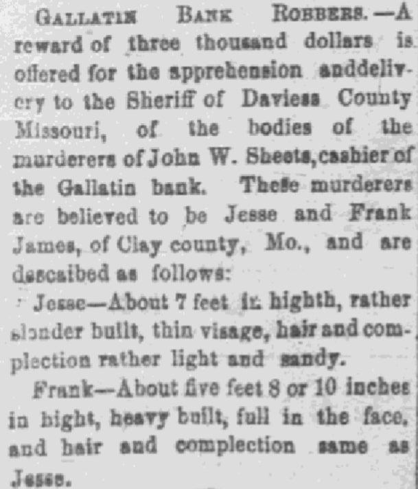 An article about Frank and Jesse James, Leavenworth Bulletin newspaper article 12 January 1870