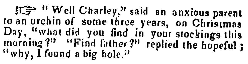Christmas humor, Mississippi Free Trader newspaper article 13 March 1850