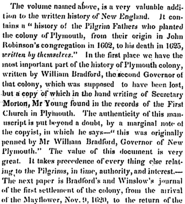 An article about the Mayflower and the Pilgrims, Newburyport Herald newspaper article 13 July 1841