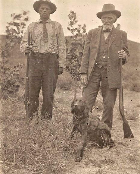 Photo: John Jefferson Bruner (r) with son Franklin Wooster Bruner (l) hunting on the Bruner homestead