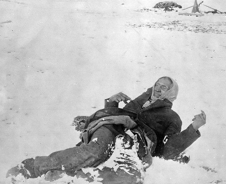 Photo: Miniconjou Lakota Chief Spotted Elk lies dead after the massacre of Wounded Knee, South Dakota