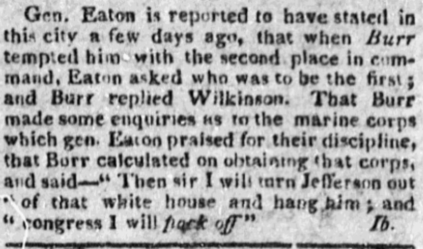 An article about the White House, Republican Watch-Tower newspaper article 30 January 1807