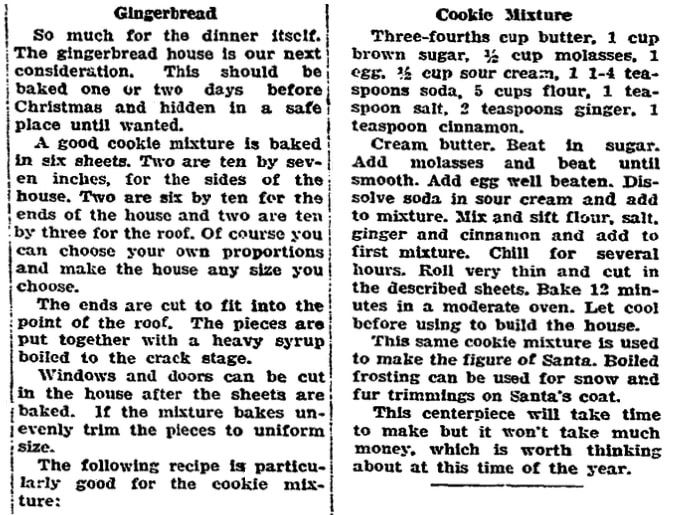 A recipe for a gingerbread house, Riverside Daily Press newspaper article 22 December 1925