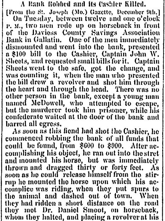 An article about Frank and Jesse James, Sacramento Daily Union newspaper article 20 December 1869