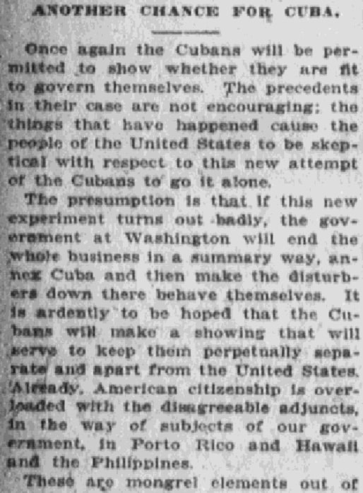 An article about Cuban independence, Anaconda Standard newspaper article 28 January 1909