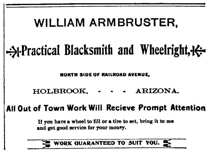 An ad for blacksmith William Armbruster, Argus newspaper advertisement 24 December 1898