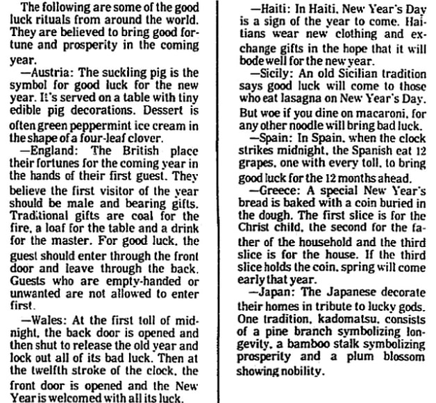 An article about New Year's Day meals and traditions, Brunswick News newspaper article 28 December 1994