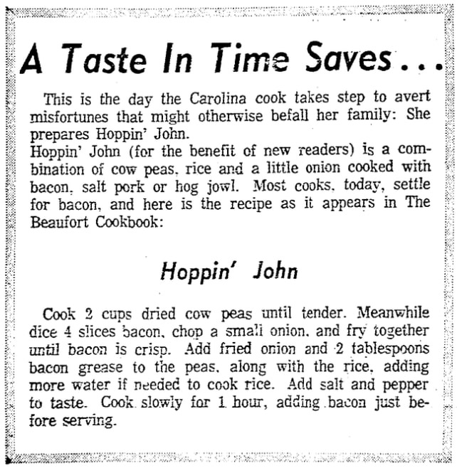 A Hoppin' John recipe, Charleston News and Courier newspaper article 1 January 1969