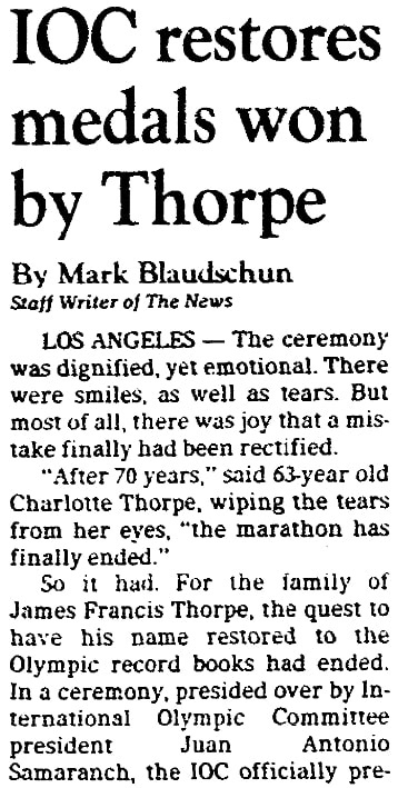 An article about Jim Thorpe, Dallas Morning News newspaper article 19 January 1983