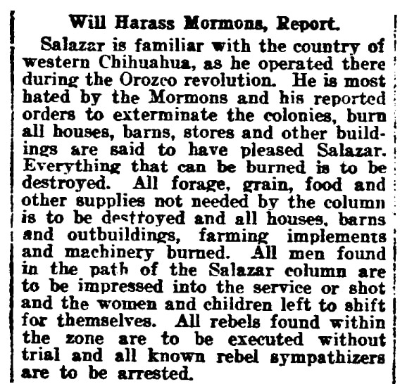 An article about Mormons in Mexico during the Mexican Revolution, El Paso Herald-Post newspaper article 20 December 1913