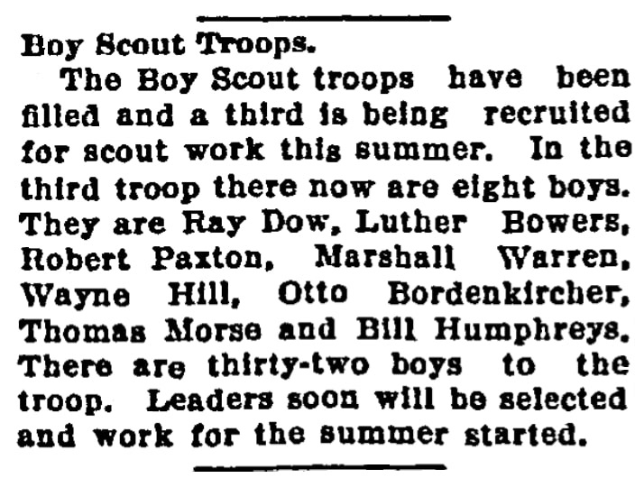 An article about the Boy Scouts, Emporia Gazette newspaper article 27 May 1918