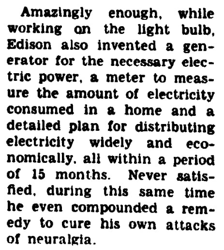 An article about Thomas Edison and his inventions, Evening Star newspaper article 16 May 1954
