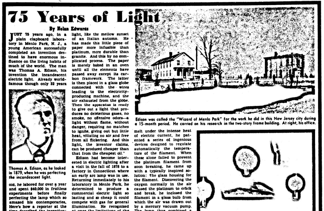 An article about Thomas Edison, Evening Star newspaper article 16 May 1954