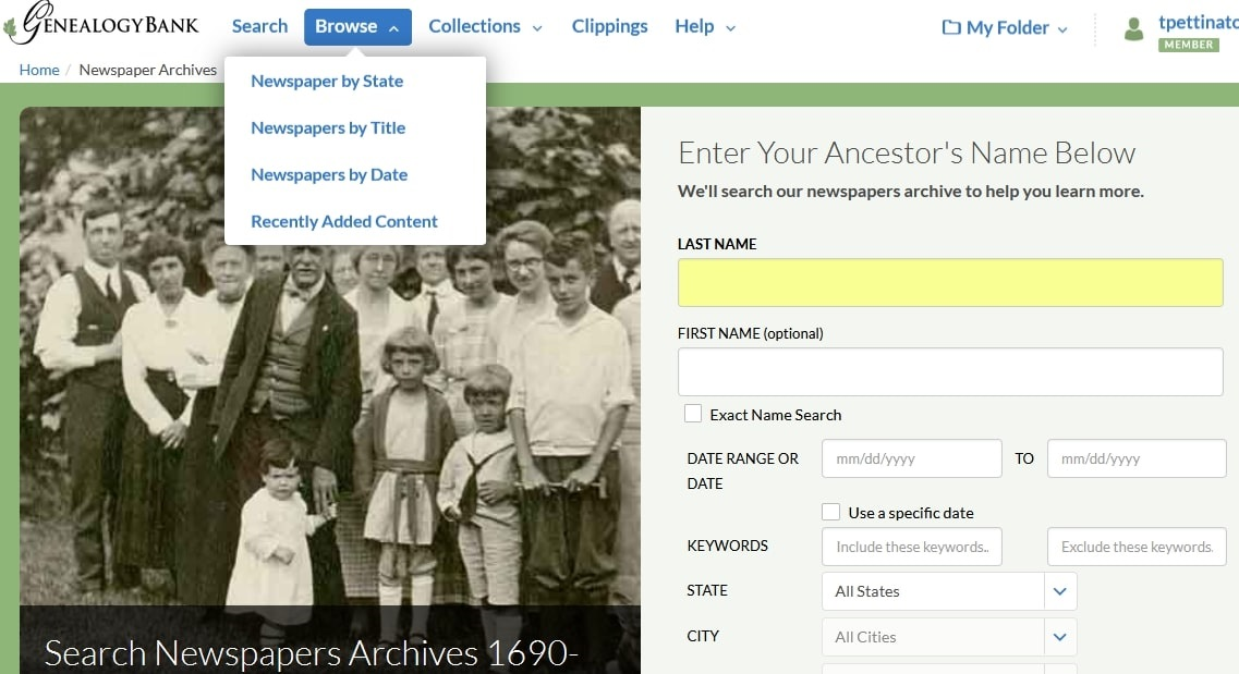 A screenshot of GenealogyBank's newspaper search page showing the Browse by State feature
