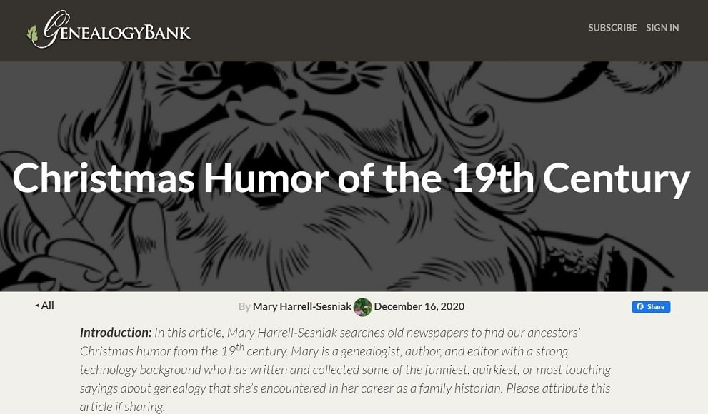 A screenshot of the GenealogyBank Blog showing an article about Christmas humor