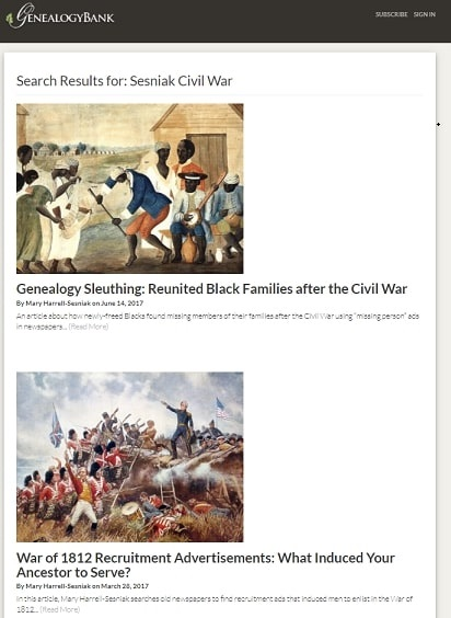 A screenshot of the GenealogyBank Blog showing a search for Civil War articles written by Mary Harrell-Sesniak
