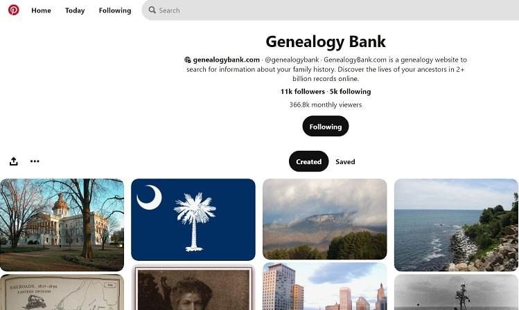 A screenshot of GenealogyBank Pinterest boards