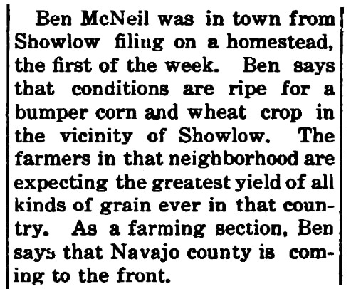 An article about Ben McNeil, Holbrook News newspaper article 14 March 1913