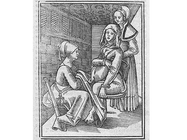 Illustration: childbirth and midwife, from a work by German physician Eucharius Rößlin, 1513. Credit: Wikimedia Commons.