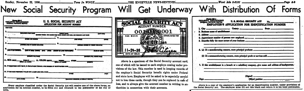 An article about the Social Security Death Index, Knoxville News-Sentinel newspaper article 22 November 1936
