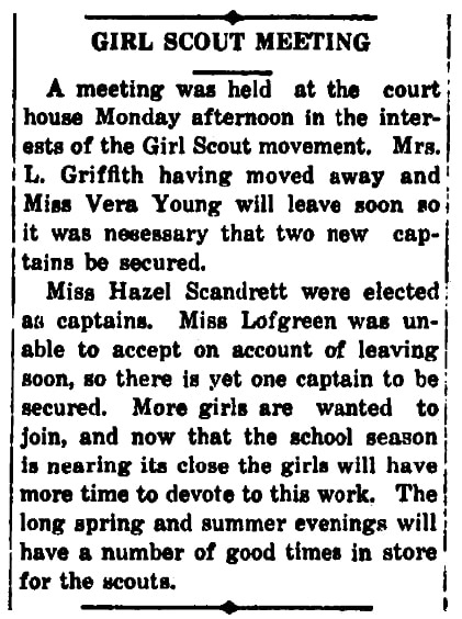 An article about the Girl Scouts, Liberal Democrat newspaper article 30 March 1922