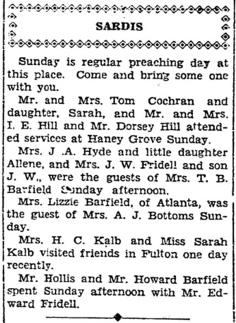 Local news round-up, Marietta Journal newspaper article 6 October 1932
