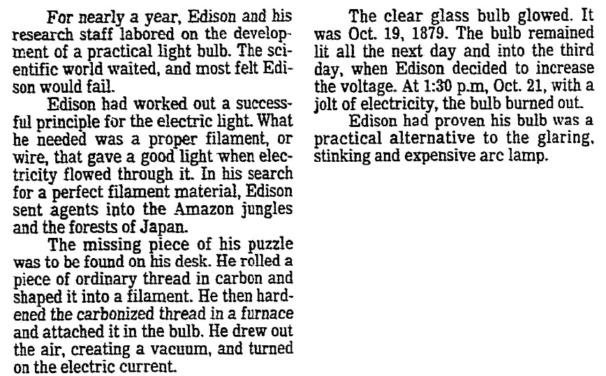 An article about Thomas Edison, Newark Star-Ledger newspaper article 29 January 1984