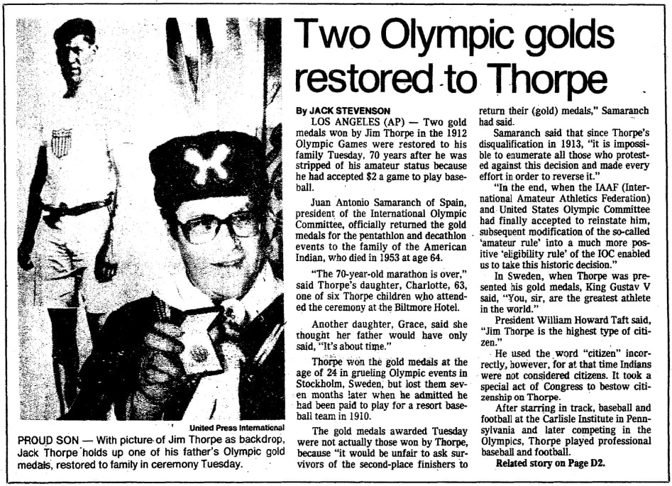 An article about Jim Thorpe, Oregonian newspaper article 19 January 1983