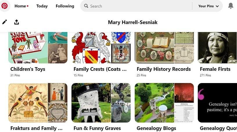 A screenshot showing Pinterest boards