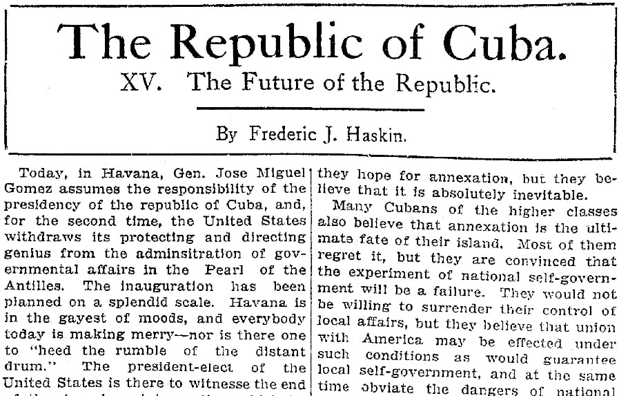 An article about Cuban independence, Plain Dealer newspaper article 28 January 1909