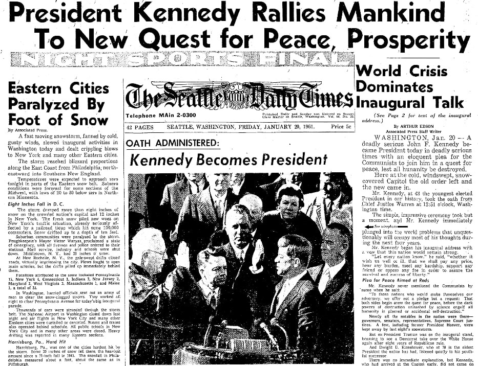 An article about the inauguration of President Kennedy, Seattle Daily Times newspaper article 20 January 1961