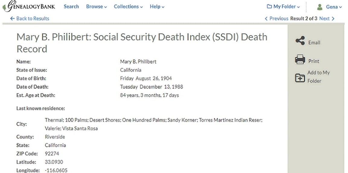 Photo: a screenshot of the SSDI record for Mary B. Philibert