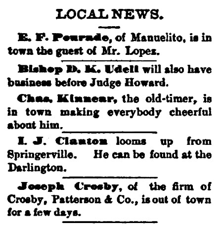 Local news round-up, St. Johns Herald newspaper article 16 July 1885