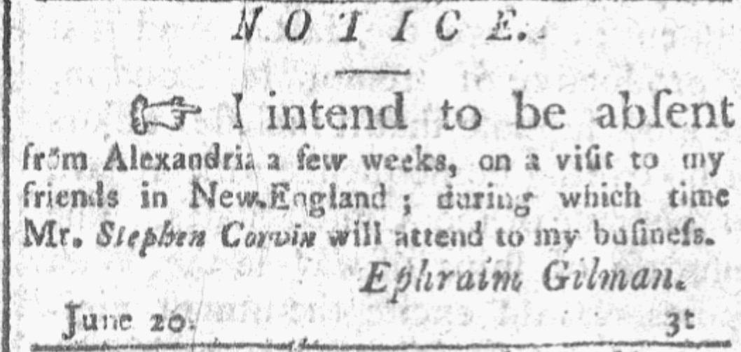 An ad for Ephraim Gilman, Alexandria Daily Advertiser newspaper advertisement 21 June 1805