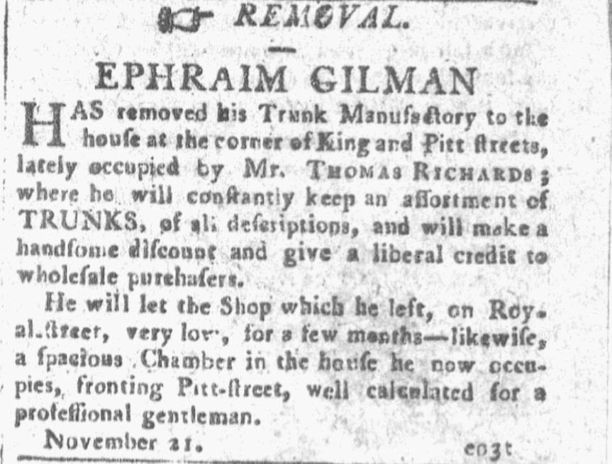 An ad for Ephraim Gilman, Alexandria Daily Advertiser newspaper advertisement 27 November 1805
