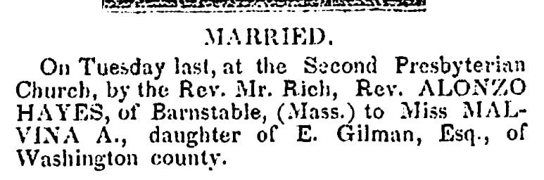 Wedding notice for Malvina Gilman and Alonzo Hayes, Alexandria Gazette newspaper article 5 May 1843