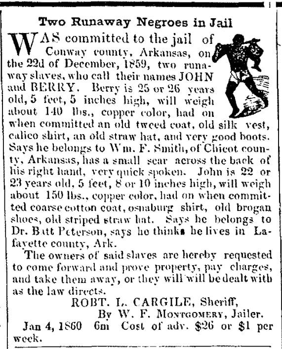 An ad for runaway slaves, Arkansas Banner newspaper advertisement 11 January 1860