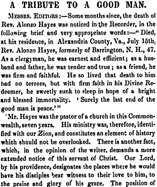 An article about Alonzo Hayes, Boston Recorder newspaper article 13 January 1859