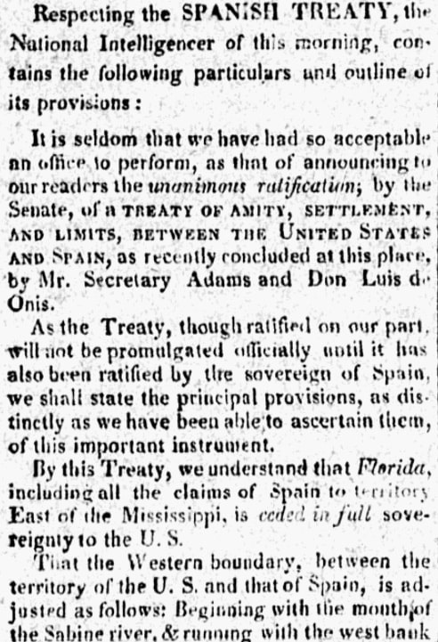 An article about the Adams-Onis Treaty, City of Washington Gazette newspaper article 25 February 1819