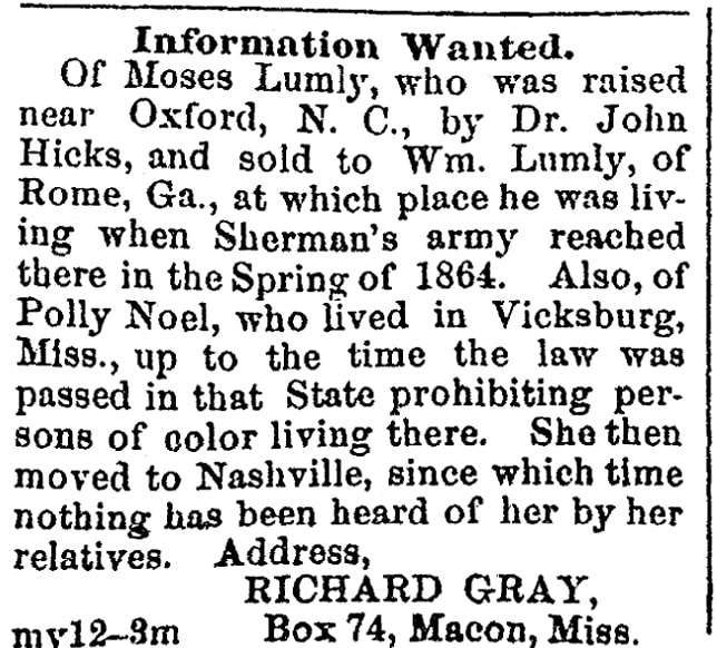 A missing persons ad, Colored Tennessean newspaper advertisement 18 July 1866