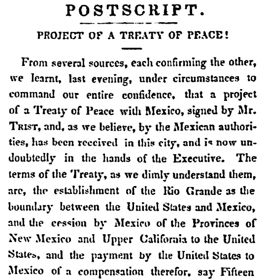 An article about the end of the Mexican-American War, Daily National Intelligencer newspaper article 21 February 1848