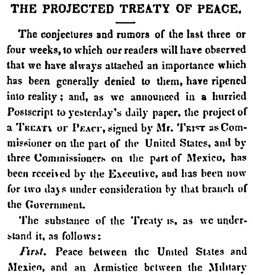 An article about the end of the Mexican-American War, Daily National Intelligencer newspaper article 22 February 1848