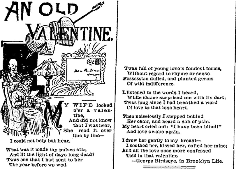 A Valentine's Day poem, Elkhart Weekly Review newspaper article 9 January 1893