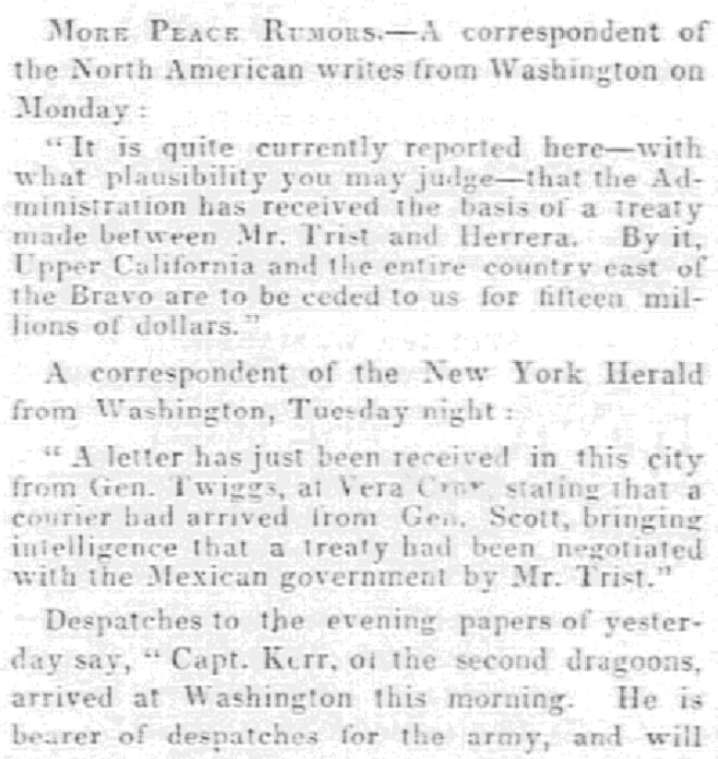 An article about the end of the Mexican-American War, Emancipator and Republican newspaper article 2 February 1848