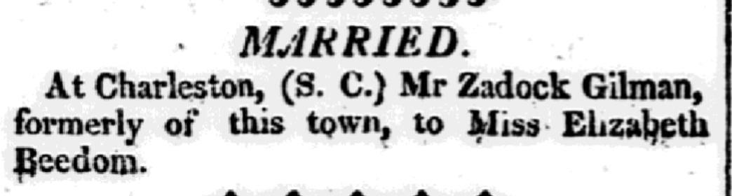 An article about Zadock Gilman, Hallowell Gazette newspaper article 5 June 1816